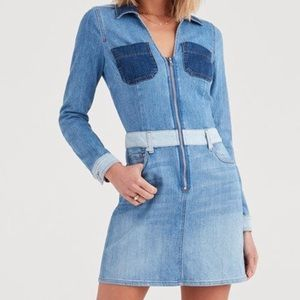 7FAM Patchwork Denim Dress Size Medium Blues